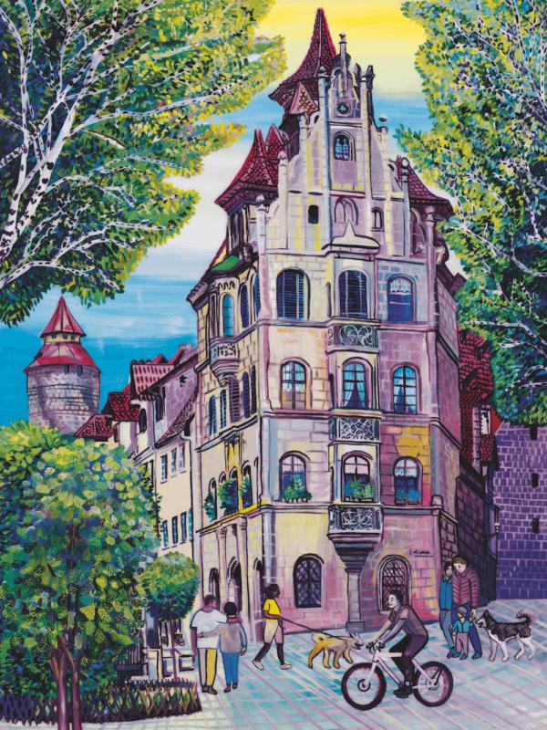 Marina Friedrich: Toplerhaus in Nürnberg, Giclée-Druck, 40x30cm, 2021