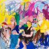 Janina C. Brügel: Auf ihren Stirnen hat gelber Schein alle Gedanken verdrängt, 2015, Acryl - Tusche auf Leinwand, 140 x 150 cm.