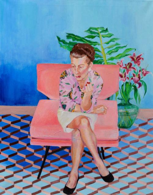 Janina C. Brügel: Frau Biberbach, 2017, Acryl auf Leinwand, 115 x 90 cm