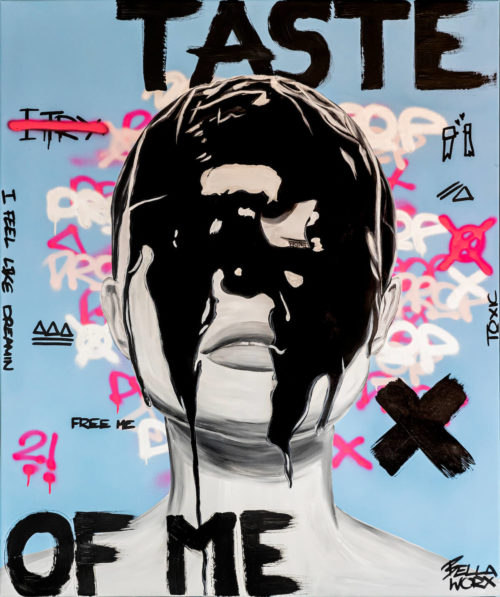 "Taste of me, Serie ""Reality check"", 2021, Acrylic x Graffiti on canvas, 100 x 120 cm"