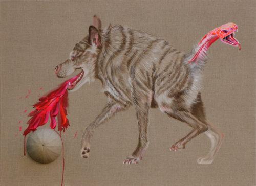 Petra Krischke: Zerberus, Acryl auf Leinen, 80 x 110 cm, 2019