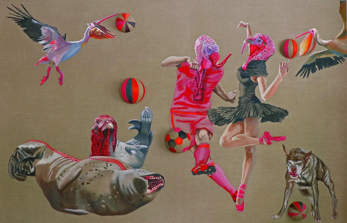 Petra Krischke: Ballare, Acryl auf Leinen, 180 x 280 cm, 2019
