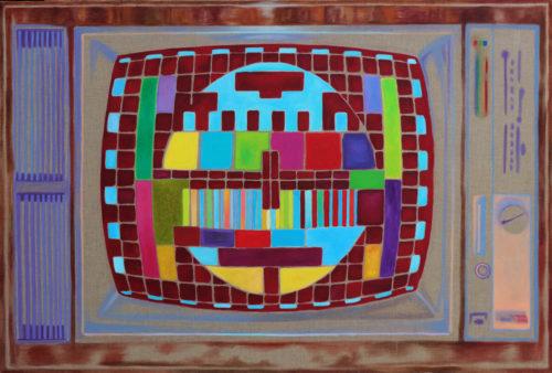 Petra Krische: Flachbildschirm, Acryl auf Leinen, 104 x 154 cm, 2019
