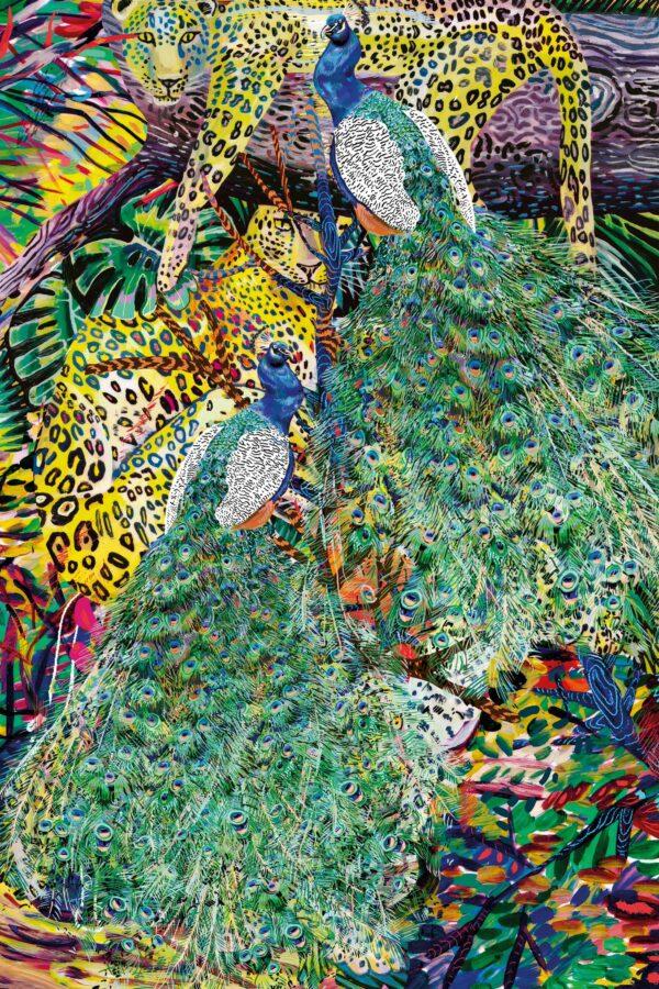 Marina Friedrich: Peacock and Leopard, 2021, 40 x 30 cm